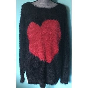 Soft Fuzzy Heart Sweater 2X Stretchy Plus Size